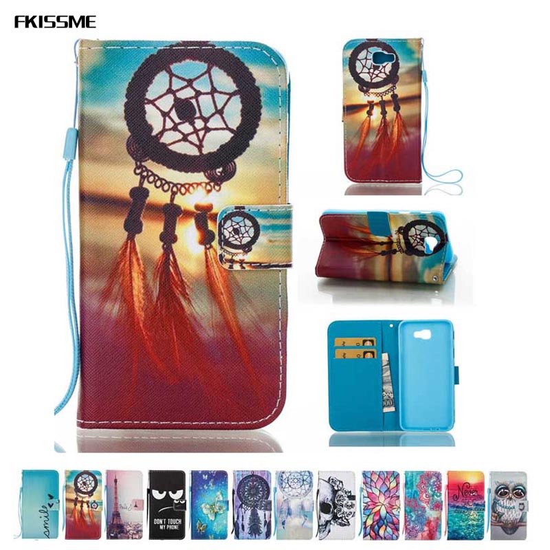 FKISSME Luxury Flip Wallet Cover For Samsung Galaxy J5 Prime ON5 2016 Flower Butterfly Owl PU Leather Case For Samsung J5 Prime