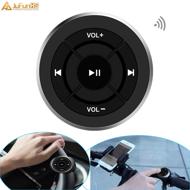 Wireless Bluetooth Remote Control Car Steering Wheel Motorcycle Bike Handlebar Media Button for iPhone for Samsung Android Phone