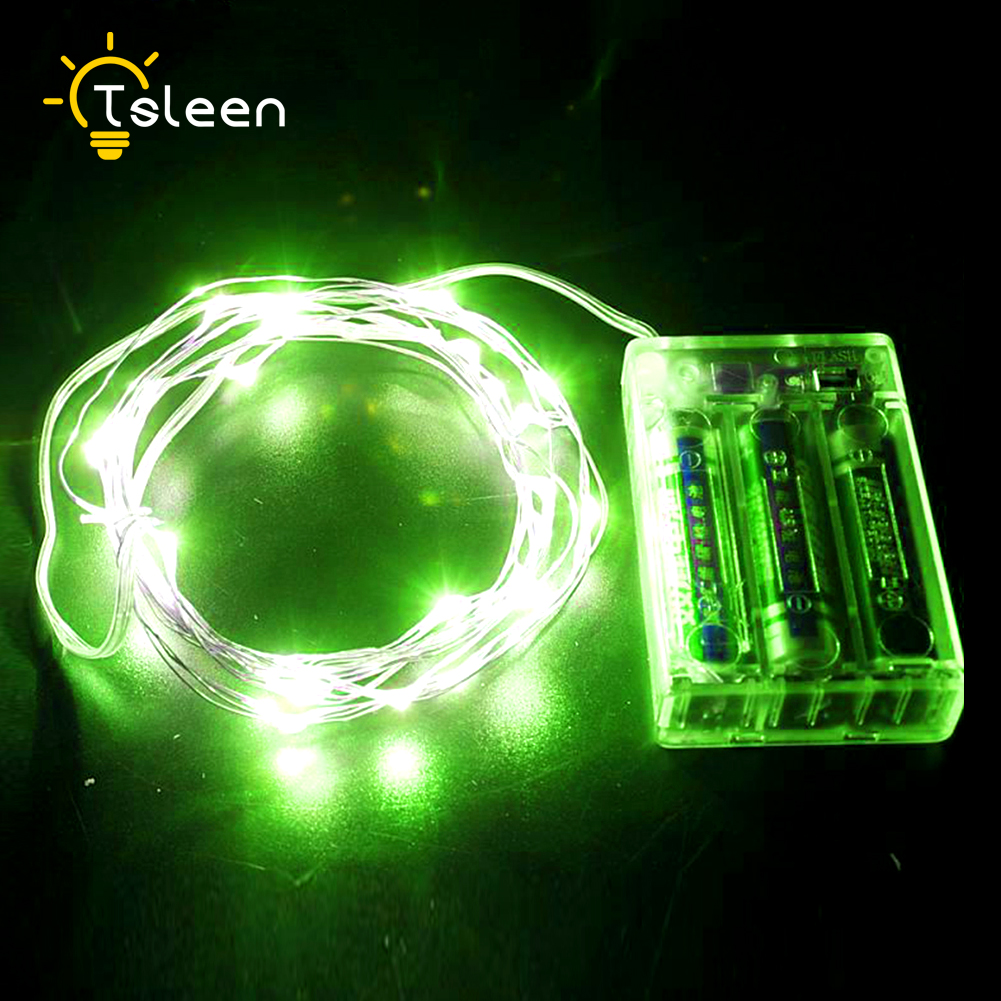 TSLEEN RGB Colorful LED String Light 10M 5M Silver Wire Fairy Lights With Brattery Christmas New Year Wedding Decoration