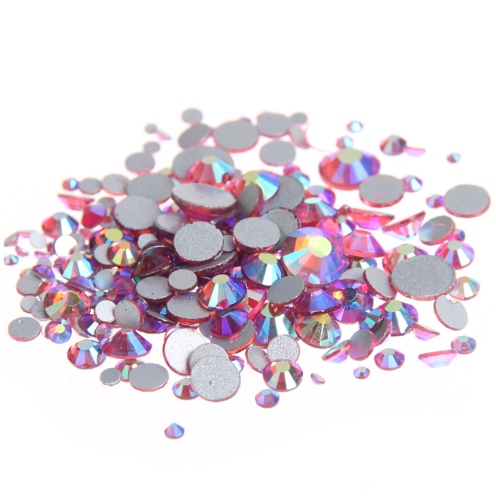 Rose AB Non Hotfix Crystal Rhinestones Flatback Round Facet Strass Stones Shiny Glue On Glass Chatons DIY Nails Art Accessories bort bws 1400n