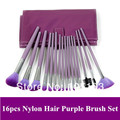 Free shipping!  New 16 pcs Makeup Brushes Set, Purple Nylon Brush Kit with Pu Leather Bag Dropshipping!