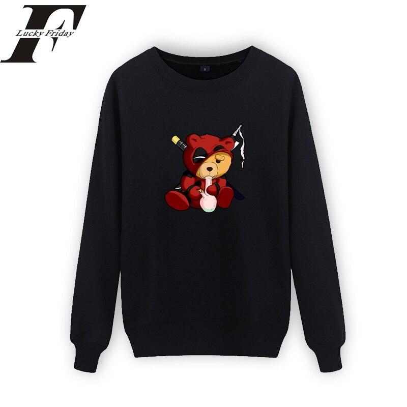 LUCKYFRIDAYF 2018 Deadpool Smoking Teddy Design Black Sweatshirt Men Hiphop Streetwear Dead Pool Hoodies Sweatshirt Men/women