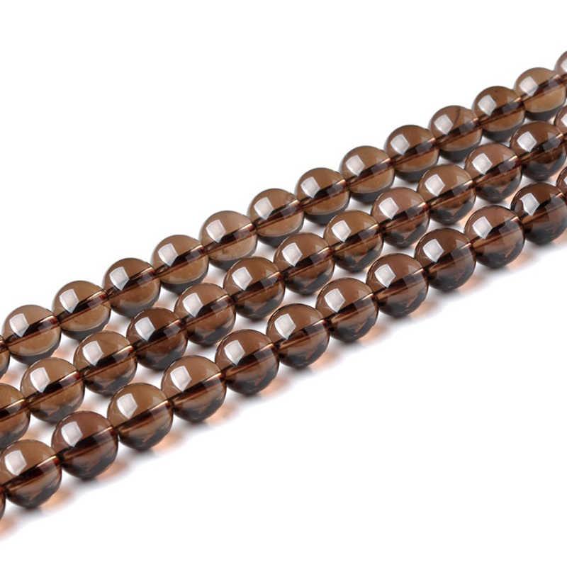 4mm 6mm 8mm 10mm 12mm להרים גודל טבעי אבן חרוזים עגול Loose חלק סמוקי קוורץ אבן חרוזים DIY שרשרת צמיד