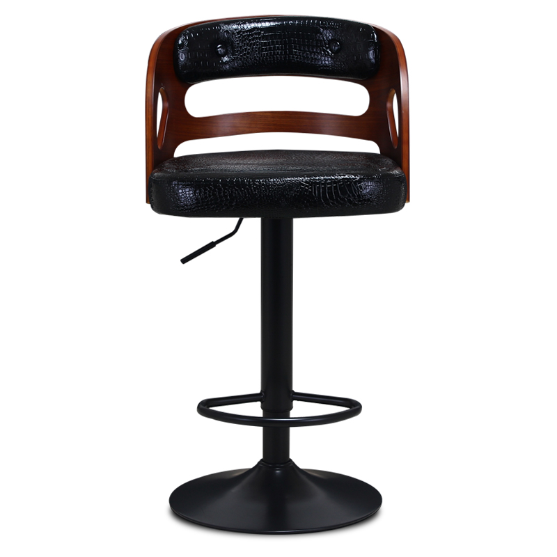 Wooden Back Bar Chair Multi-function Front Desk Retro High Stool With Footrest Household Stable Balcony Leisure Stool PU Seat