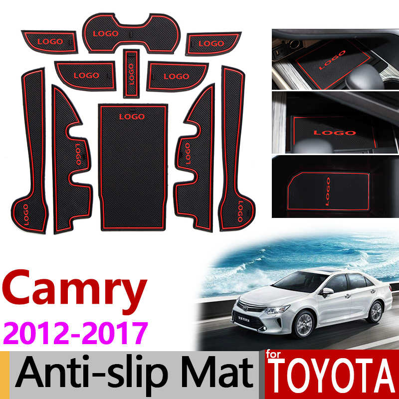 for Toyota Camry 7 XV50 Anti-Slip Rubber Gate Slot Mat Daihatsu Altis Aurion 50 2012 2013 2014 2015 2016 2017 MK7 Accessories
