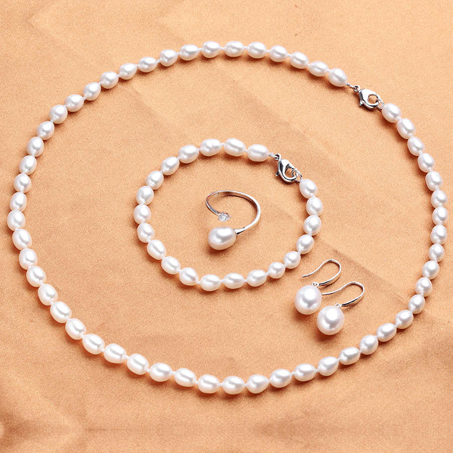 100% Natural Freshwater Pearl Jewelry Sets For Women Elegant Silver 925 Earrings Rings Necklace Bracelet 4 PCS Sets For Wedding