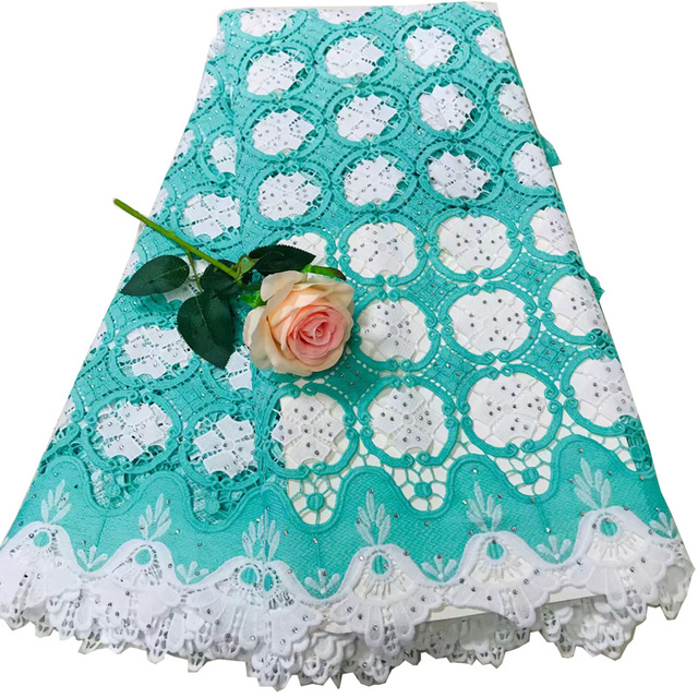 Free shipping (5yards/pc) high quality African cord lace fabric mint green and white water soluble lace with stones WLV03