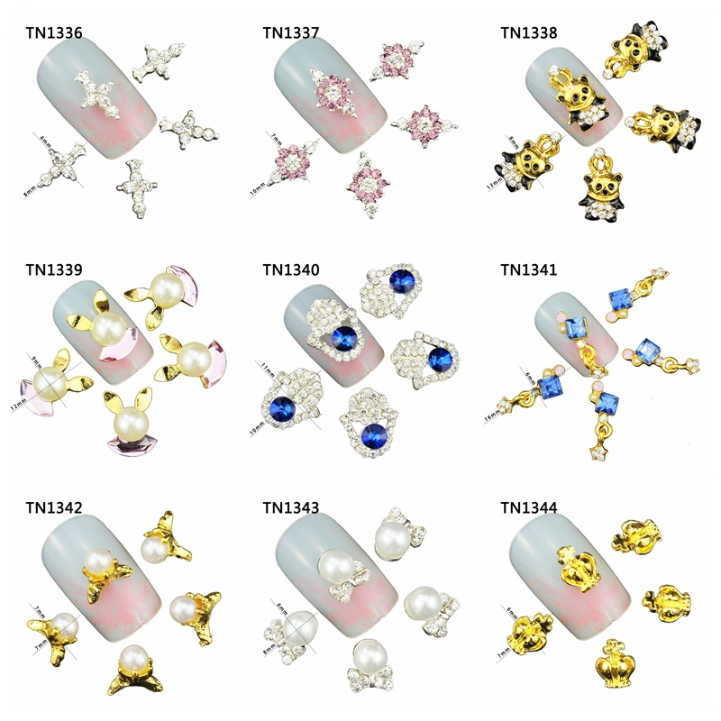 10 Pcs/Lot Cross Crown Bow Pearl Rabbit Charms Rhinestones Alloy Nails Tools For Glitter 3D Nail Art Decorations TN1336-1346 10pcs pack glitter green rhinestones nail art decorations alloy 3d nail jewelry charms nails tools free shipping