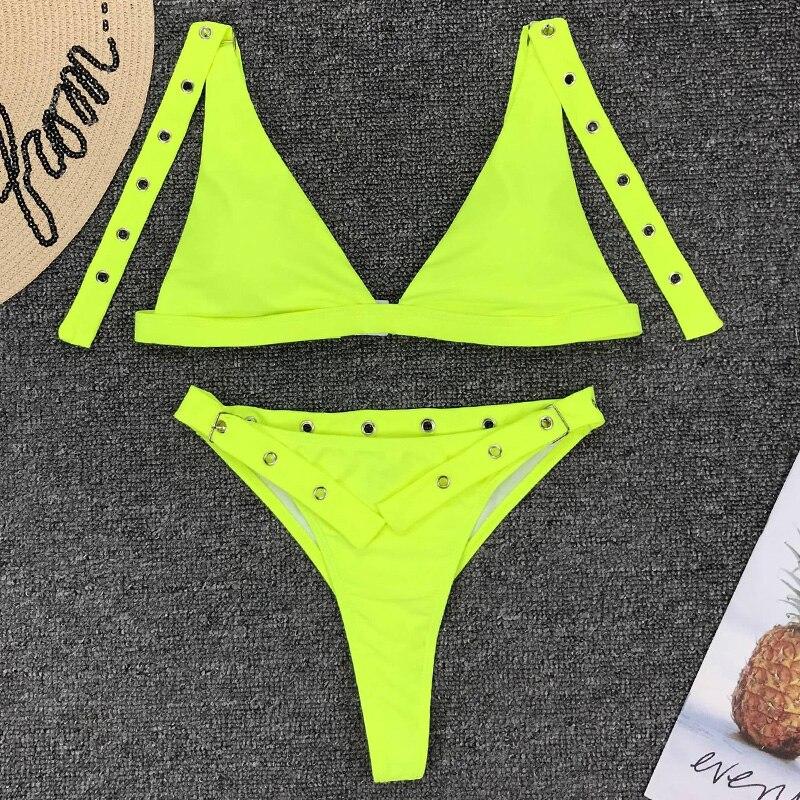 Neon Green High Waist bikini 2019 Adjust Strap Swimsuit women Thong Swimwear Female Two pieces bikini set Brazilian Bathing Suit