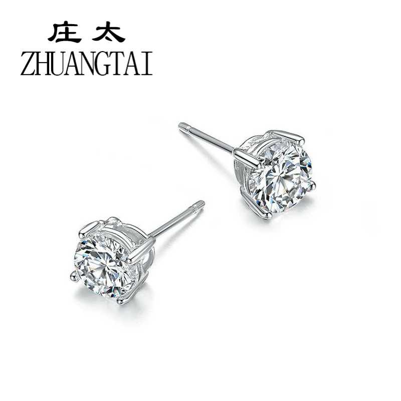 ZHUANGTAI 2018 Fashion Simple Cute Lady White Crystal CZ Jewelry Four Legs Stud Earrings For Women Girls Gift Brincos Promotion