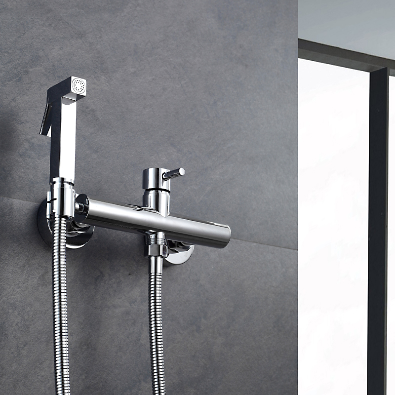 Free Shipping Solid Brass Chrome Handheld Bidet ,Toilet Portable Bidet Shower Set With Hot and Cold Water Bidet Mixer free shipping chrome brass hand shower set faucet wall mounted with brass holder and hot cold control shower valve is125