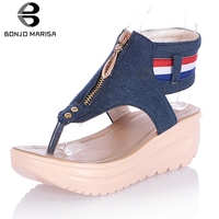 d576af4cd ... Mulher Plus size 32 47. BONJOMARISA New Casual Denim Sandals Woman  Summer Thick Heels Wedges Sandals Women Comfort Shoes Woman Plus