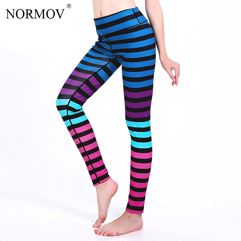 NORMOV Women Stripe   Leggings   Pants Fashion High Waist Sporting   Legging   Workout Activewear Push Up Leggins S-3XL 7 Colos