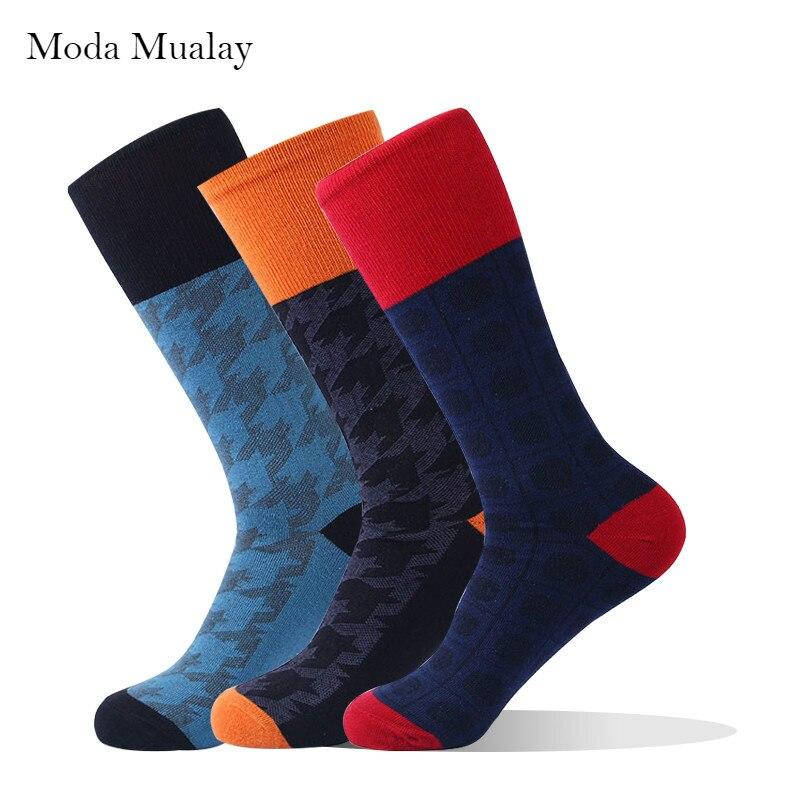2019 Men's Dress   Socks   Men Combed Cotton Dark Contrast Color Funny   Socks   Male Fashion Happy Business Dress   Socks   for Mens Gift