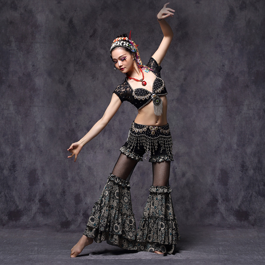Tribal Belly Dance Training Clothes 3pcs Outfit Sexy Lace Crop Tops Hip Belt and Pants Women