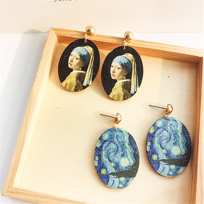 Fashion Women Stud Earrings Wood Renaissance Paintings Oval Wooden Jewelry Earring Oil Painting Portraits Stud Earrings