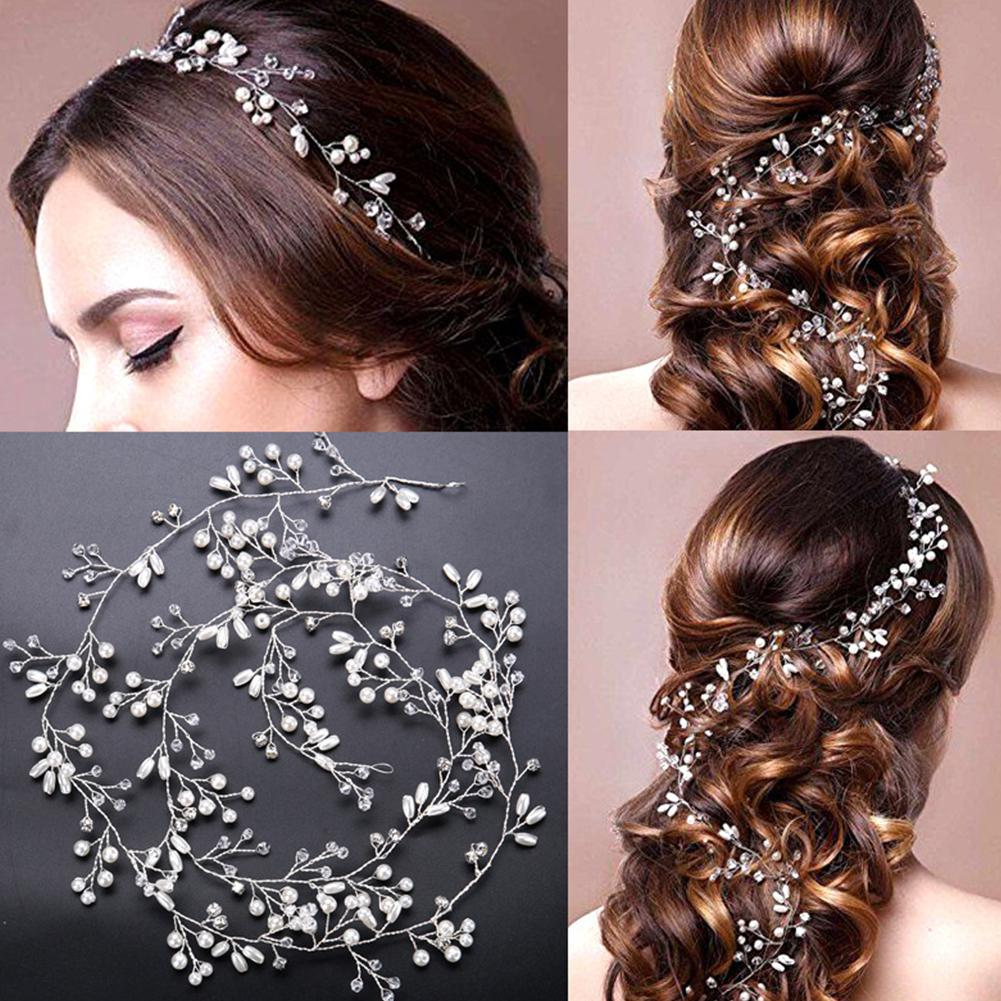 Yiwa Pearls Crystal Wedding Hair Vine Bridal Accessories Women Handmade Headwear