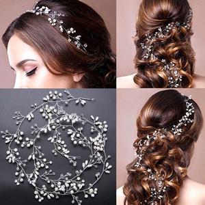 Yiwa اللؤلؤ الكريستال الزفاف الشعر كرمة الزفاف اكسسوارات المرأة اليدوية أغطية الرأس