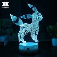 אשליה החזותי מנורת Creative פוקימון Umbreon 3D USB Cartoon לילה השינה מנורת שולחן אור LED 7 צבע מתנות חג מולד לילדים