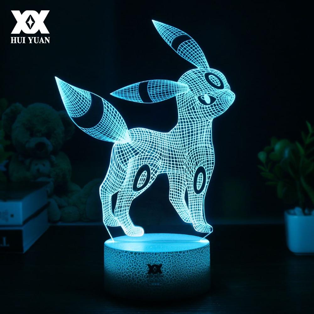 Creativo Pokemon Umbreon 3D Lampada illusione ottica USB Del Fumetto Luce di Notte LED 7 Colori Sonno Lampada Da Tavolo Per Bambini Regali Di Natale