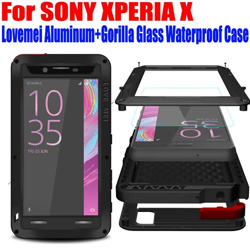 Für SONY XPERIA X Leistung XA XZ Fall Ursprüngliche Lovemei Aluminium + Gorilla Glas Tropfen Wasser beweis abdeckungsfall für XPERIA X SX1