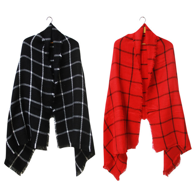 Red Black Plain Checker Scarf | Blanket Scarves