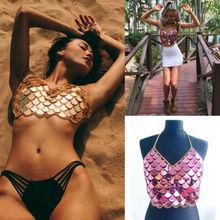 Hot Sale Sexy Women Mermaid Backless Crop Tops Bralette Bra Party Sequin Body Chain Vest Tank V-neck Halter Shinny Tank Clubwear