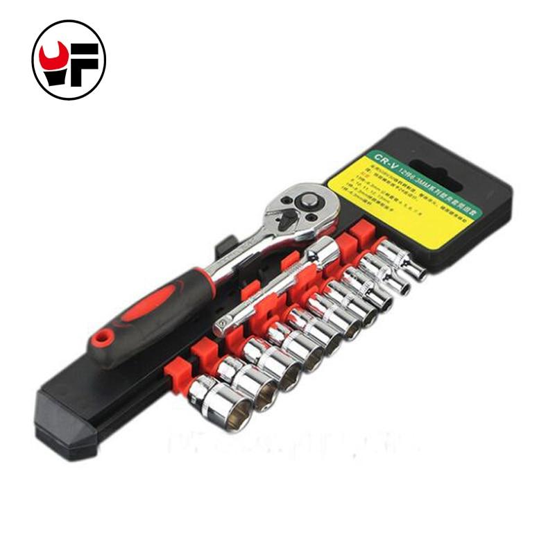 Portable 12 Pcs 4-13mm Socket Size Car Truck Ratchet Wrench Hardware Repair Tool