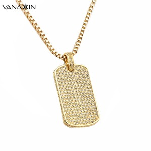 VANAXIN Paved Fashion Pendant Necklecs for Men Druzy Gold Color Iced Out Square Bling Bling Punk Mini Jewelry Dog Tag Shiny Gift