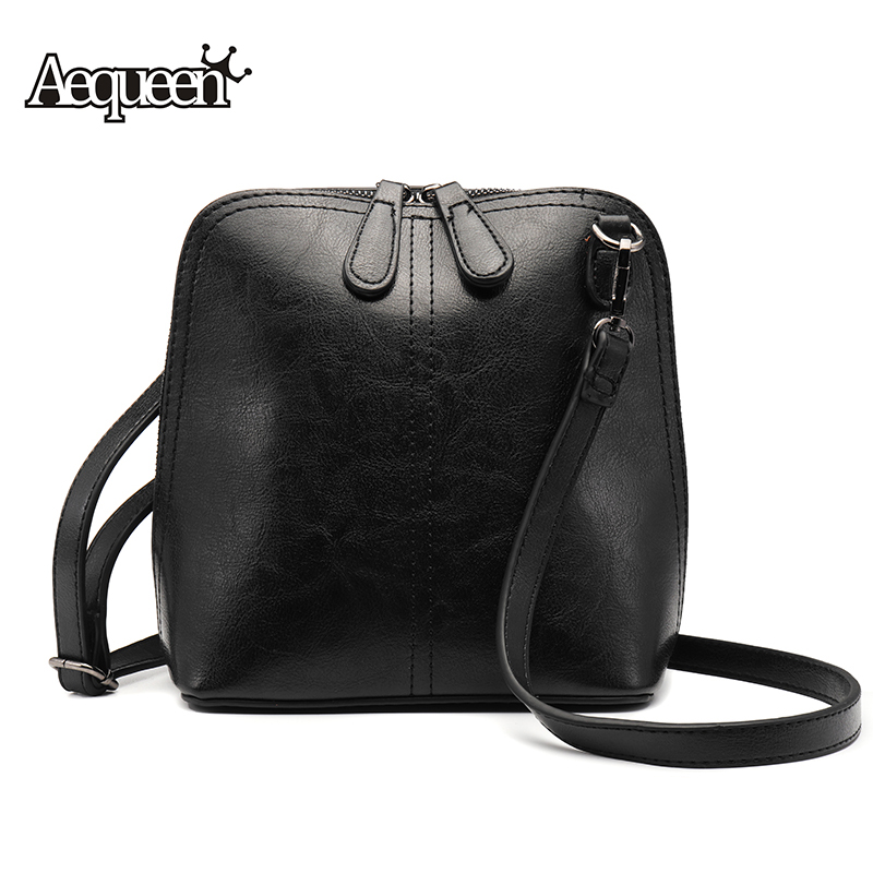 2018 AEQUEEN Women Black Brown PU Leather Small Messenger Shoulder Crossbody Bag Female Ladies Retro Phone Shell Purses Handbags fashion small women messenger bag pu leather handbags mini shoulder crossbody bag casual girls clutches purses cell phone pouch