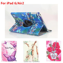360 Degree Rotating Leather Case Cover for apple Ipad 6 9.7inch for ipad Air2 with Retina Smart Colorful Painting Stand Cover