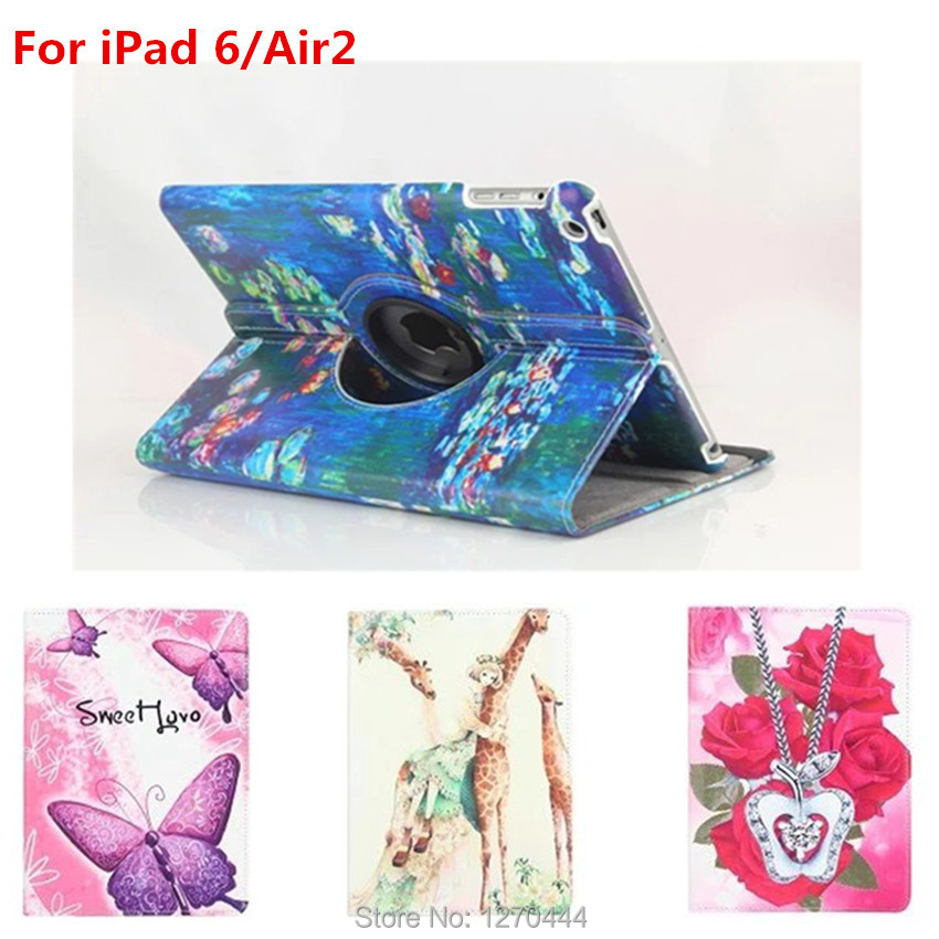 360 Degree Rotating Leather Cases Cover for iPad 6/ipad Air 2 9.7 tablet with Retina Smart Colorful Painting Stand holder cover for ipad 2 3 4 case 360 degrees rotating pu leather cover for apple ipad 2 3 4 stand holder cases smart tablet a1395 a1396 a1430