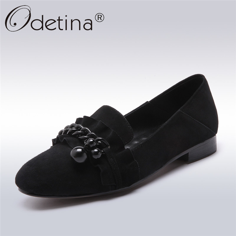 Odetina 2018 New Fashion Women Genuine Leather Shoes Leisure Low Heeled Shoes Loafers Slip On Chunky Heels Ruffles Plus Size 43 new 2017 men s genuine leather casual shoes korean fashion style breathable male shoes men spring autumn slip on low top loafers