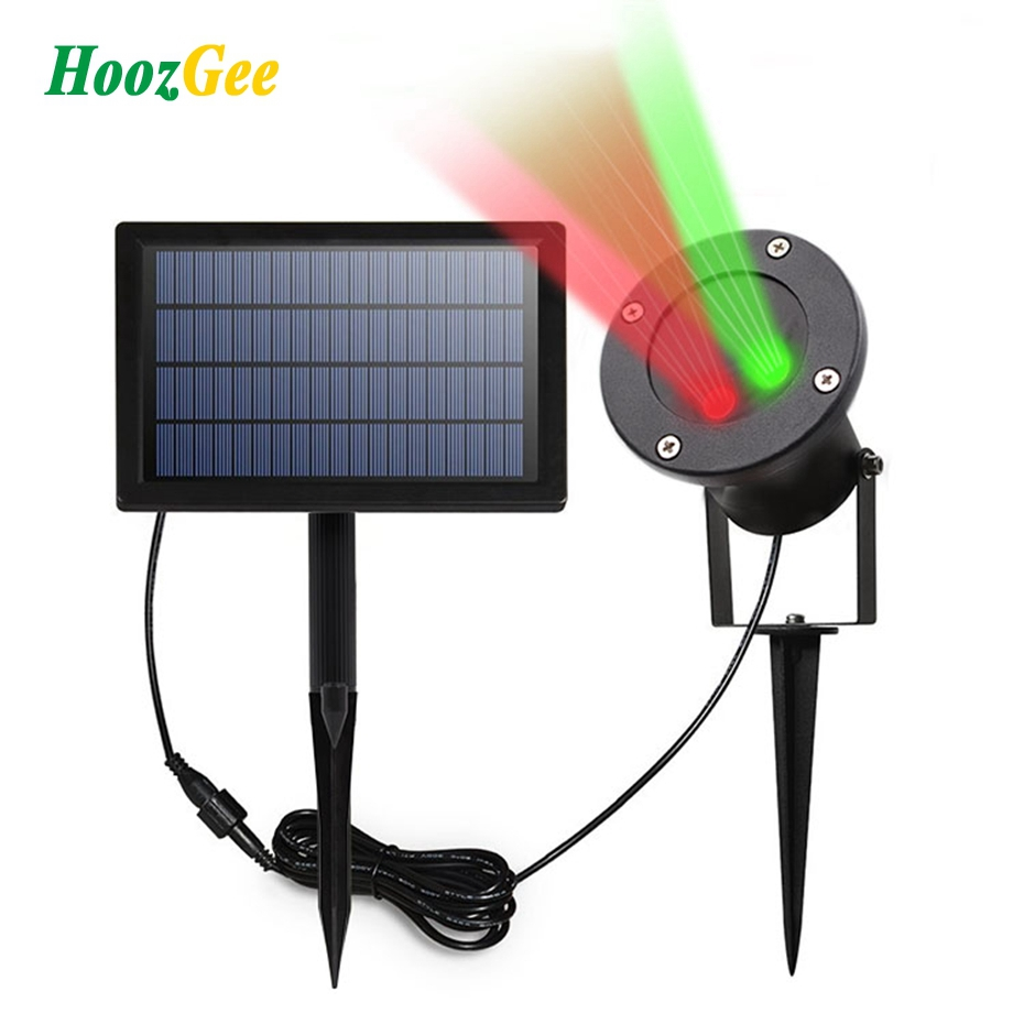 HoozGee Solar Flood Lights Star Colorful Projector Lamp Christmas Laser Spotlights LEDs  ...