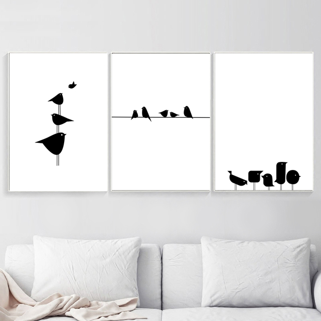 Minimalism Cute Bird Black White Wall Art Canvas Painting Nordic Posters And Prints Wall Pictures For Living Room Nursery Decor