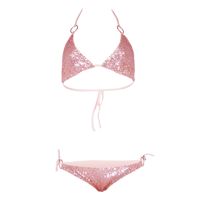 471b45d3f5ecc Sexy Sequins Circle String Halter Bikini Set Sparkle Two Piece Push-up  Padded Bra Low