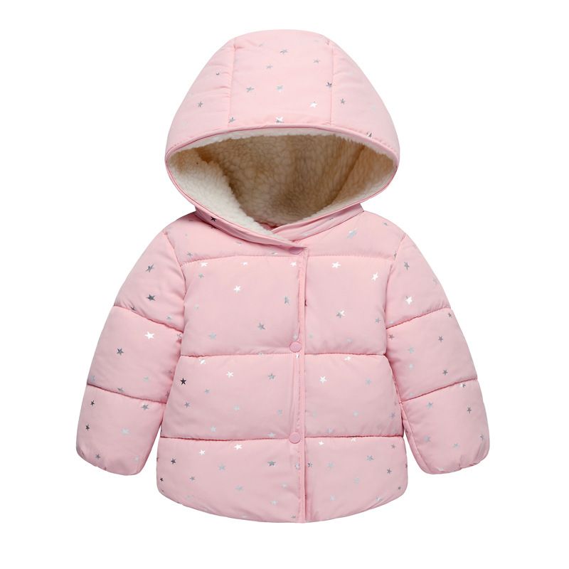 Star print winter girls jackets outdoor kids down cotton winter boys Outerwear girls children's clothing hooded baby warm coats