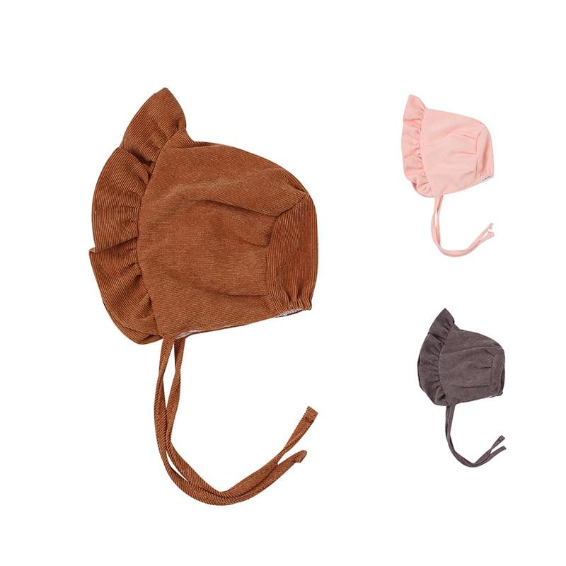 Corduroy Baby Beanie Hat Cute Princess Girls Cap Spring Autumn Lace Up Infant Beanie Sun Cap 3-12 Months Baby Girls Clothing