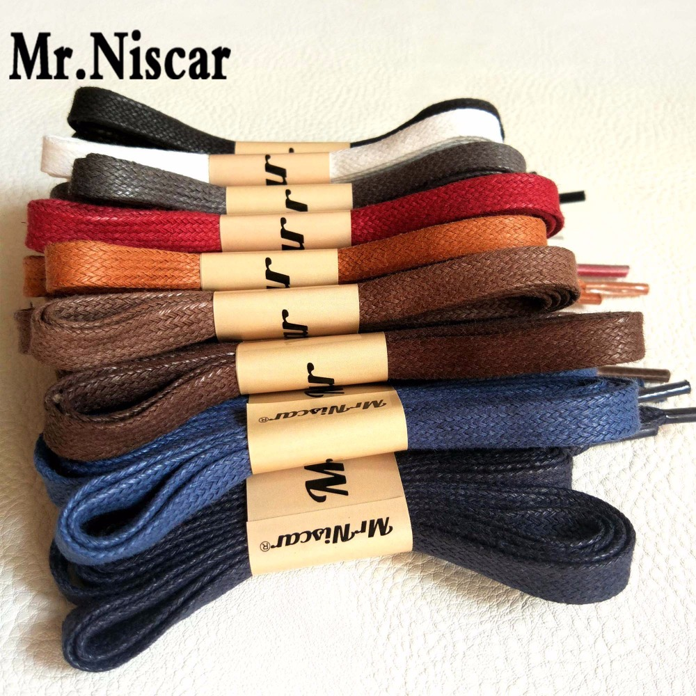 Mr.Niscar 5 Pair Width 0.8cm/Thick 0.2cm Flat Waxed Shoelaces Wax Cotton Shoe Laces Strings for Leather Shoes Boots Lace Rope 5 pairs 1cm width british scotland plover grid style shoelaces canvas shoes sneakers flat shoes lace 70 80 90 100 110 120 130cm