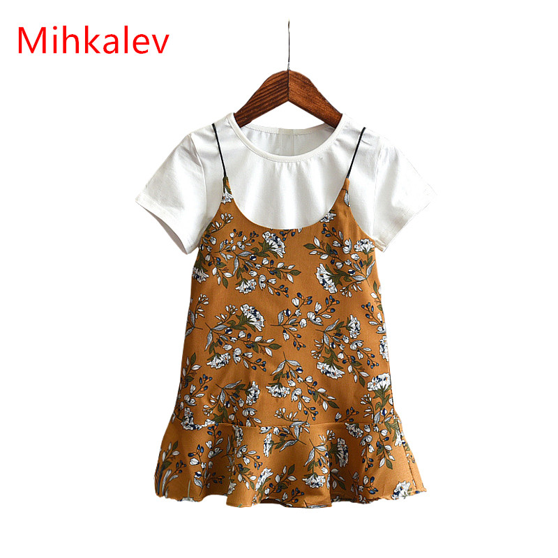 Mihkalev 2020 Summer Children Clothing Outfits Girl Set For Children Clothes Sets Tshirt And Dress Kids Girls 2pcs Tracksuits