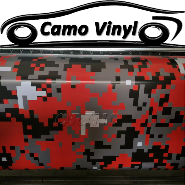 Red Pixel Digital Camouflage Vinyl Wrap Sticker Car Styling Motorcycle Truck Vehicle Body Wraps Covers With