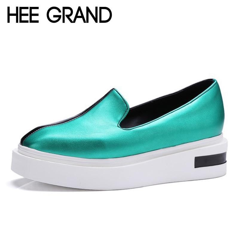 HEE GRAND/2017 повседневные лоферы в стиле пэчворк, обувь на толстой мягкой подошве без шнуровки, обувь на плоской платформе золотистого цвета, же...