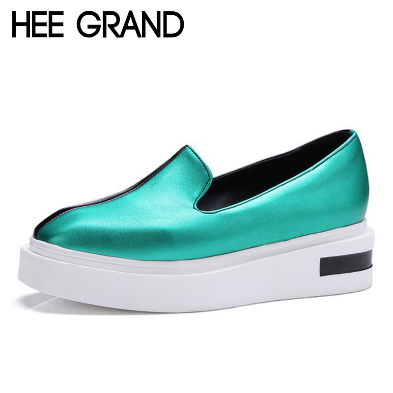 HEE GRAND 2017 Casual Loafers Patchwork Creepers Slip On Flats Platform Gold Shoes Woman Fashion Women Shoes Size 35-43 XWC1110 phyanic crystal shoes woman 2017 bling gladiator sandals casual creepers slip on flats beach platform women shoes phy4041