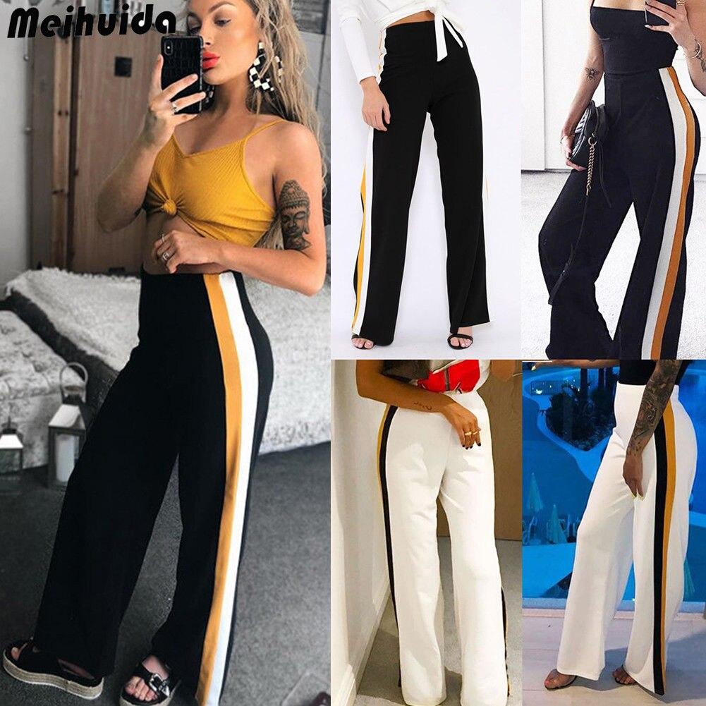Autumn Women Office Striped Long   Pants   Loose High Waist   Capris   Wide Leg Long   Pants   Palazzo Lady Trousers New Fashion