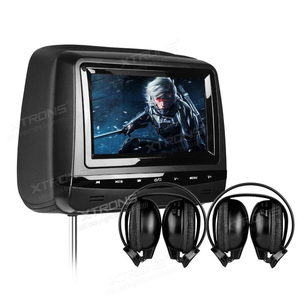 "2x7"" Sleek Piano Black Headrest Car DVD Car Headrest DVD"