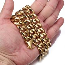 Granny Chic HIP Hop IP Gold Filled Heavy 15mm Stainless Steel Curb Cuban Link Rombo Chain Necklaces for Men Jewelry 7-40 Inch