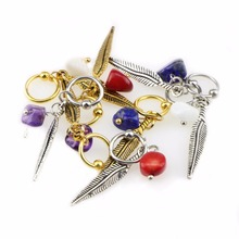 1pc Feather Charm Fake Nose Ring Punk Natural Stone Lip Ear Piercing Cl