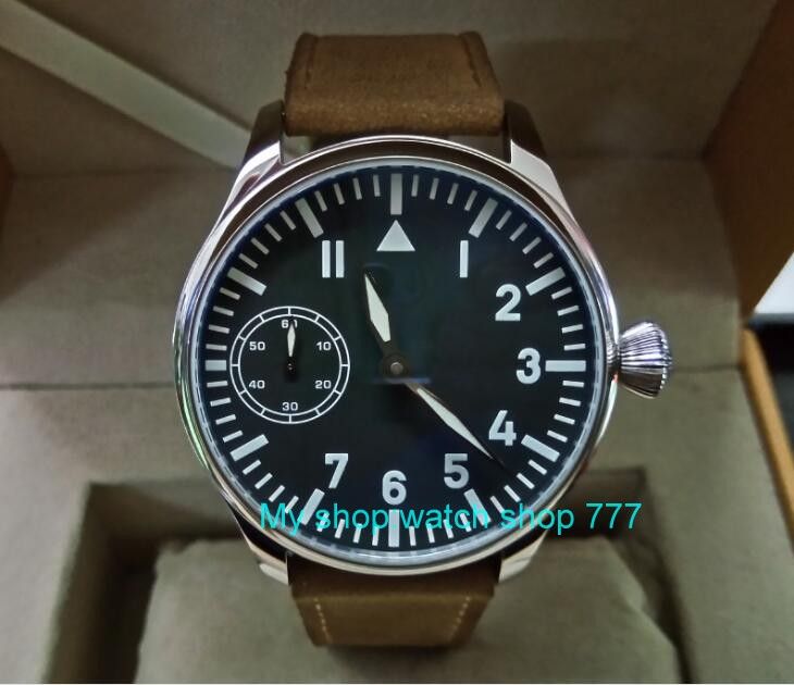 цена на 44mm PARNIS black dial Asian 6497 17 jewels Mechanical Hand Wind movement men's watch blue luminous Mechanical watches zd277A