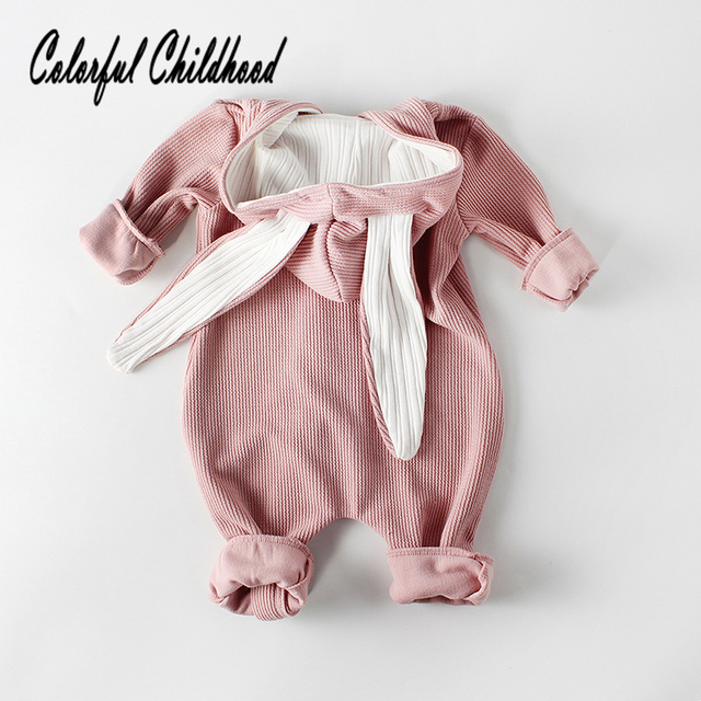 8222e49b8 Baby Rompers Lovely Bunny Ear Hooded Long Sleeve Jumpsuit Infant Toddler  Kid Pure Cotton Long Pants Rompers Kid's Winter Clothes