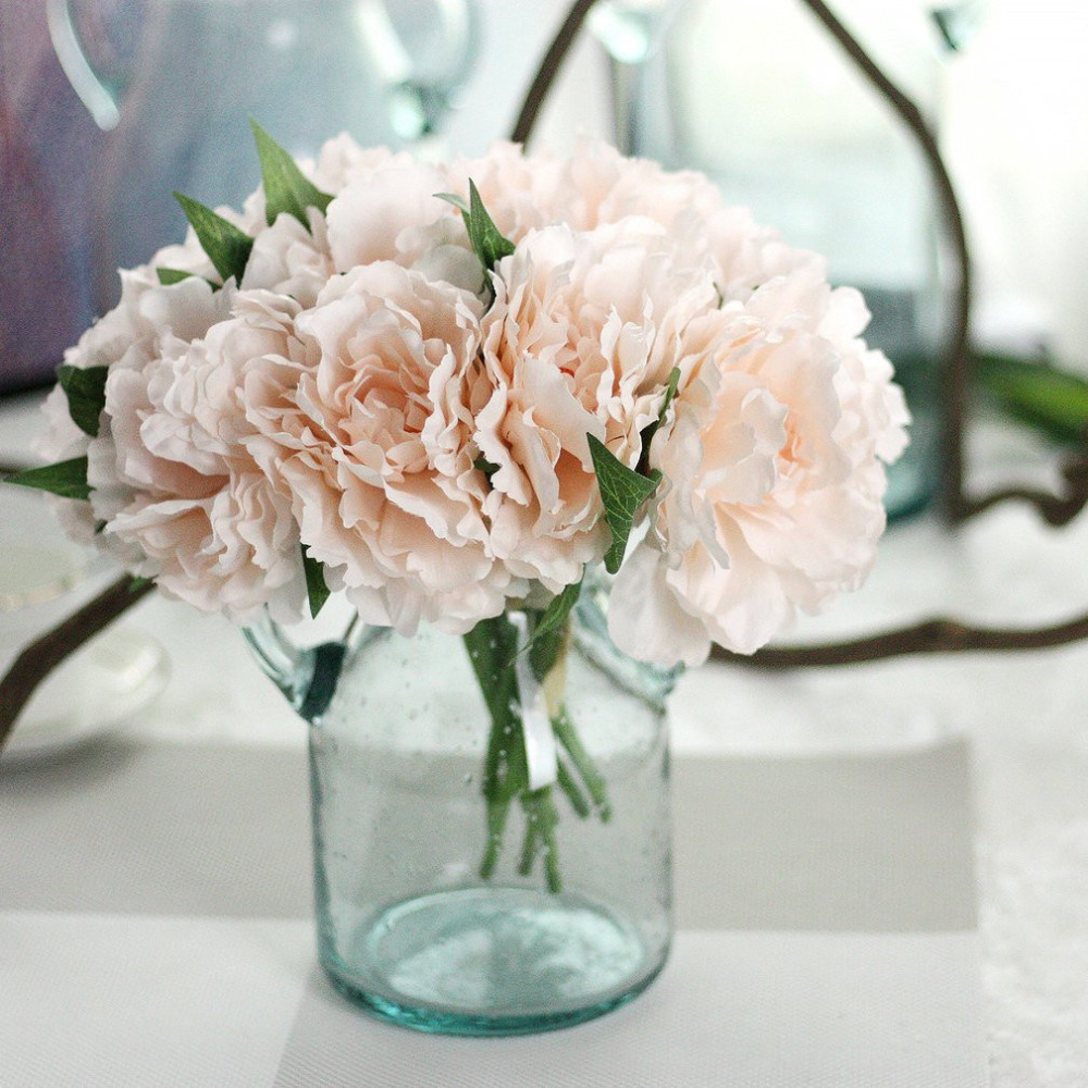 Beautiful charming artificial flowers fake peony bridal bouquet for beautiful charming artificial flowers fake peony bridal bouquet for wedding decoration romantic home decorative blue pink color in artificial dried izmirmasajfo Choice Image